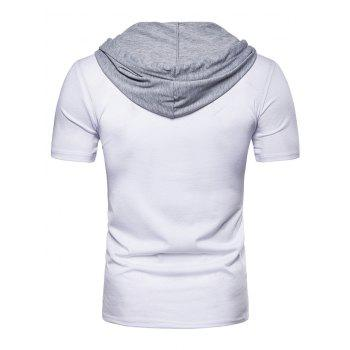 Short Sleeve Fake Two-piece Hoodie T-shirt - WHITE L