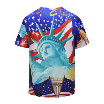 3D Statue of Liberty and Flag Print T-shirt - multicolor M