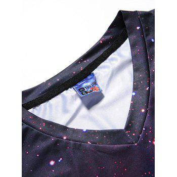 V Neck 3D Smog Nebulae Print T-shirt - multicolor L