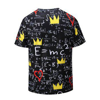 Heart Crown Relativity Theory Print V Neck T-shirt - multicolor L