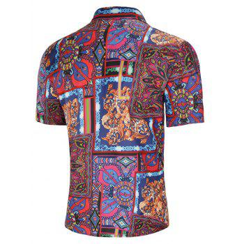 Allover Tribal Flower Print Turn Down Collar Shirt - multicolor 2XL