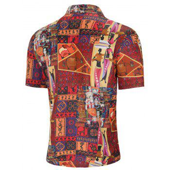 Turn Down Collar Tribal African Women Print Shirt - multicolor XL
