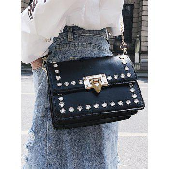 Faux Diamond Inlaid Vintage Style Chain Crossbody Bag - BLACK