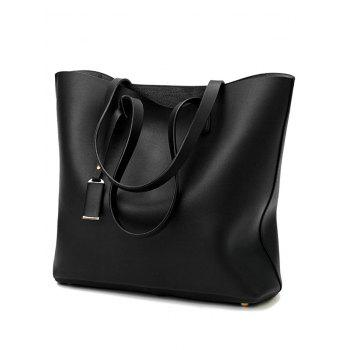 3 Pieces Classic PU Leather Shoulder Bag Tote Bag and Phone Bag - BLACK