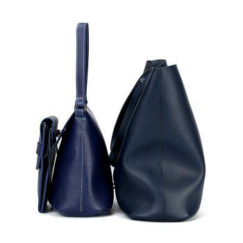 3 Pieces Classic PU Leather Shoulder Bag Tote Bag and Phone Bag - MIDNIGHT BLUE
