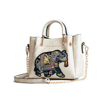 Multiple Function Embroidery Tote Bag for Shopping - WHITE
