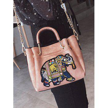 Multiple Function Embroidery Tote Bag for Shopping - PINK