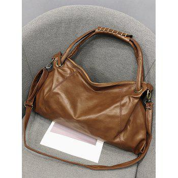 Top Handle Minimalist Faux Leather Tote Bag - BROWN