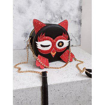 Paillette Patchwork Owl Pattern PU Leather Crossbody Bag - RED