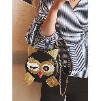 Paillette Patchwork Owl Pattern PU Leather Crossbody Bag - GOLD