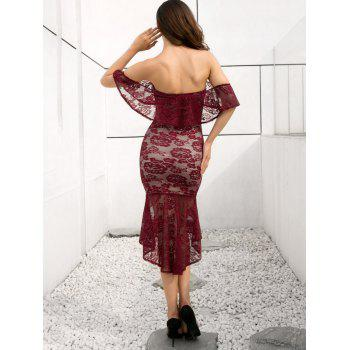Off Shoulder Lace Mermaid Dress - RED WINE S