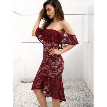 Off Shoulder Lace Mermaid Dress - RED WINE M