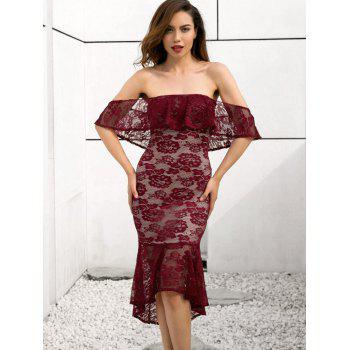 Off Shoulder Lace Mermaid Dress - RED WINE L