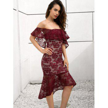 Off Shoulder Lace Mermaid Dress - RED WINE XL