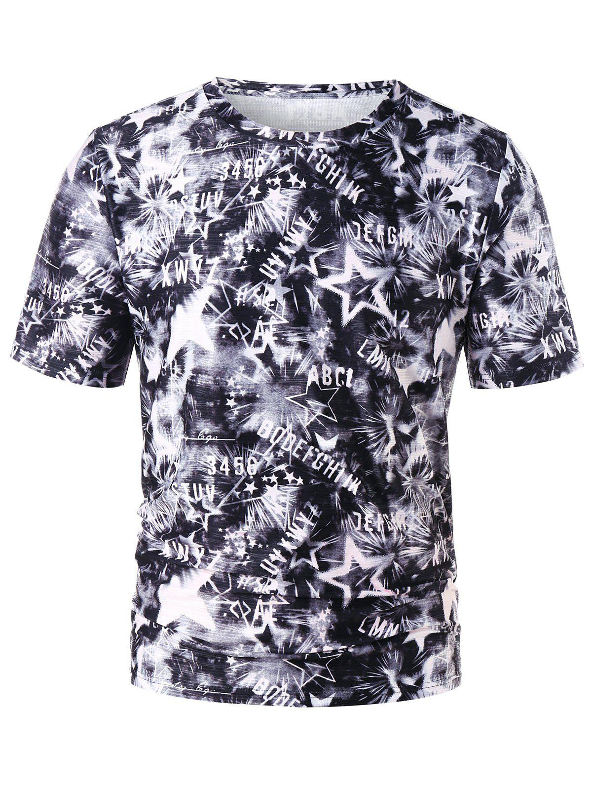 Tie Dye Printed Graphic Tee embroidered tape tie neck cutout graphic tee