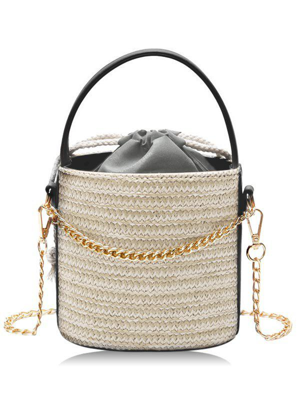 Strawstring Inner Pocket Chain Crossbody Bucket Bag - LIGHT KHAKI