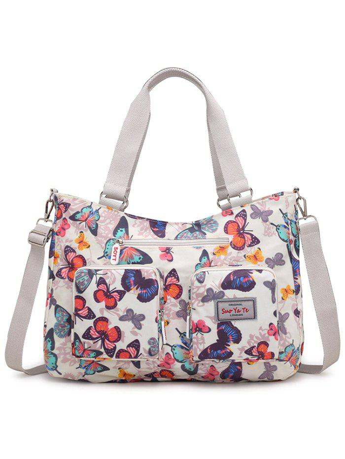 Floral Decorated Large Capacity Travel Tote Bag - WHITE