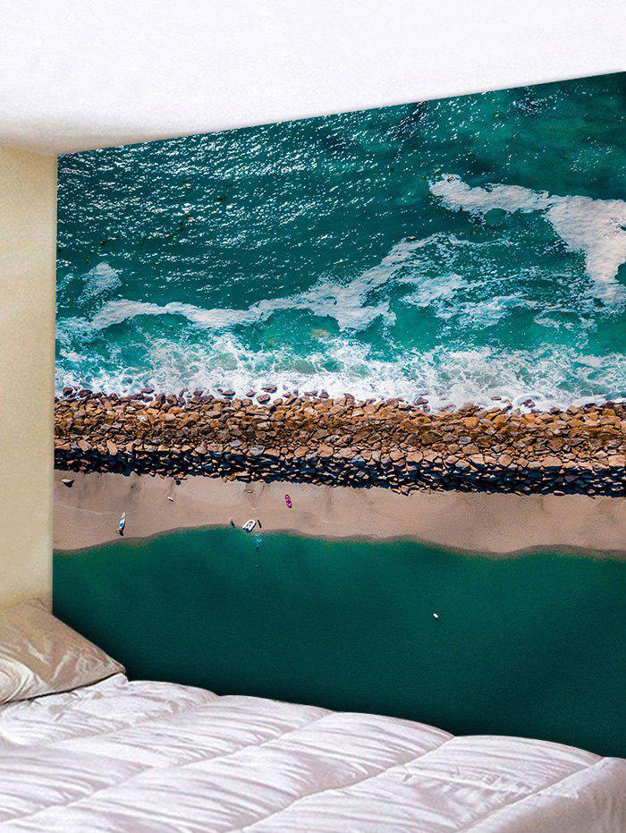 Seaside Waves Beach Print Tapestry - GREEN W71 INCH * L71 INCH