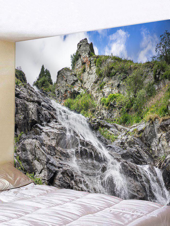Natural Cliff Waterfall Print Wall Tapestry - multicolor W71 INCH * L71 INCH