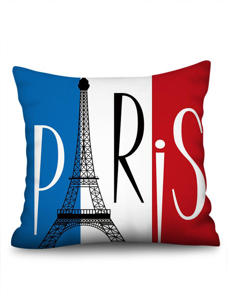 Paris Eiffel Tower Print Decorative Pillow Covers - multicolor W18 INCH * L18 INCH