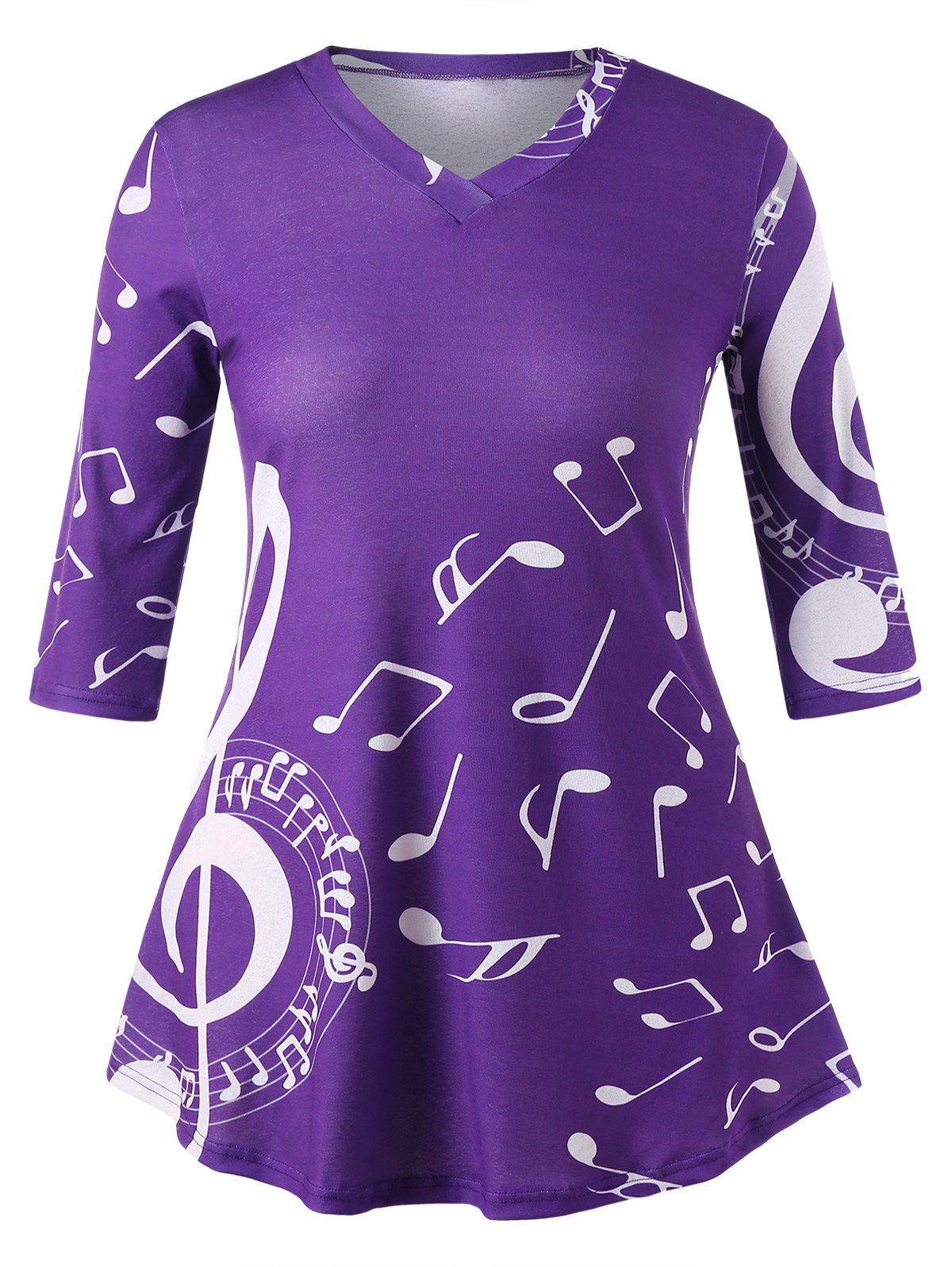 Plus Size Music Note Swing T-shirt music note party swing dress