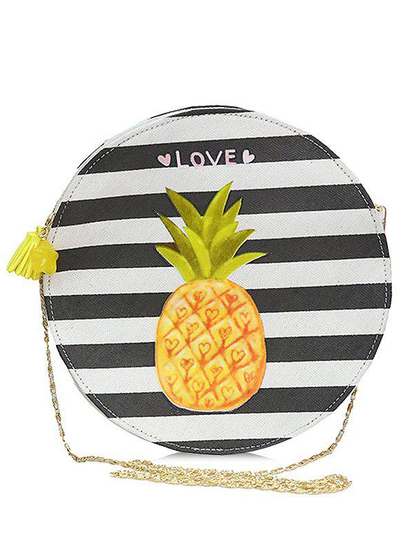 Tassel Striped Color Block Crossbody Bag - ORANGE