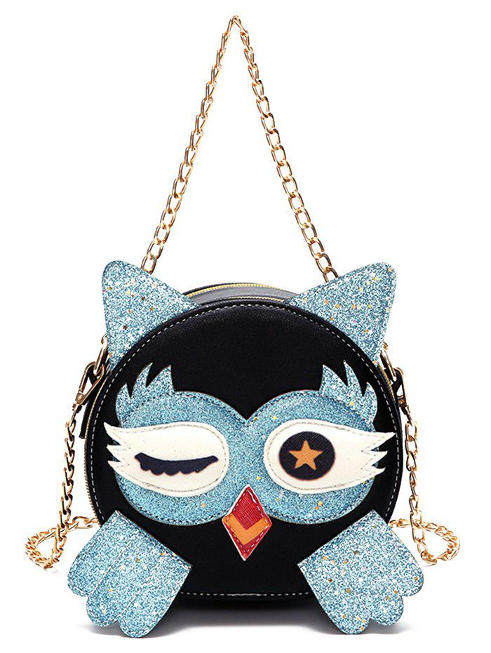 Paillette Patchwork Owl Pattern PU Leather Crossbody Bag - BABY BLUE
