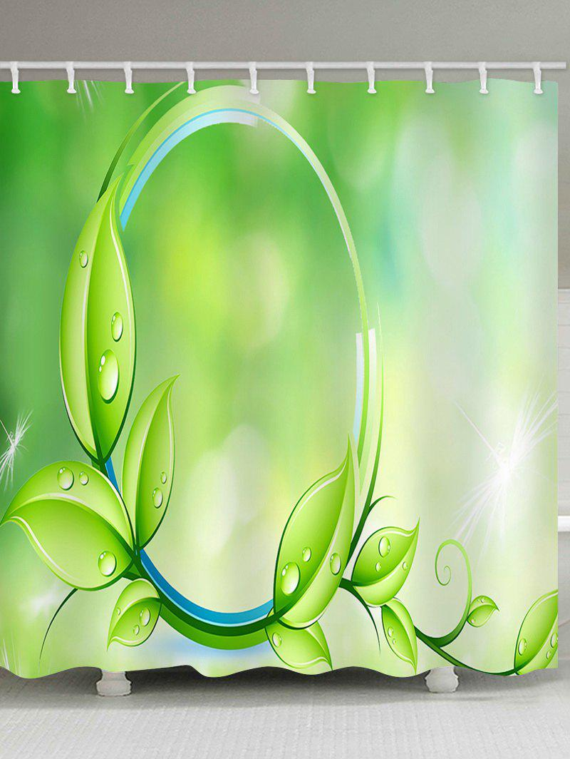 Branch Leaf Print Waterproof Shower Curtain - ALIEN GREEN W59 INCH * L71 INCH