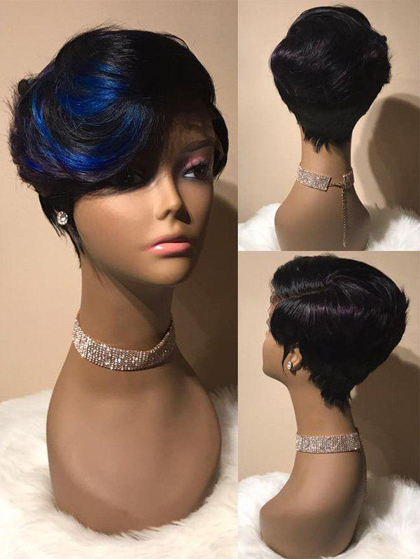 Short Side Bang Layered Colormix Straight Synthetic Wig - multicolor