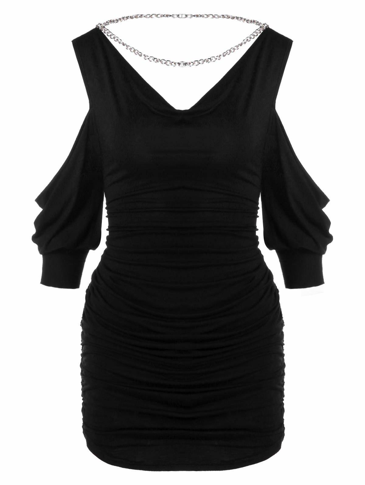 Lantern Sleeve Cold Shoulder Ruched T-shirt - BLACK M