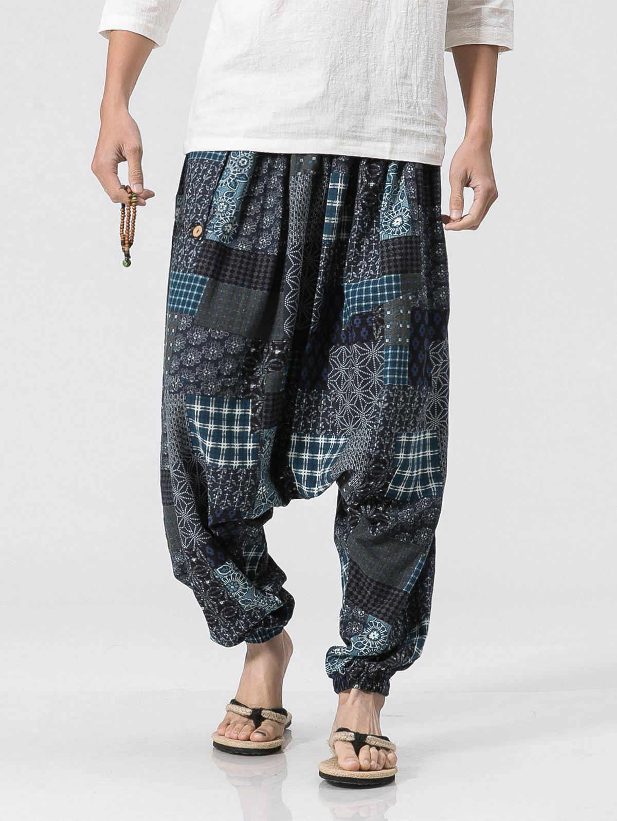 Plaid Panel Floral Print Jogger Pants - BLUE GRAY S
