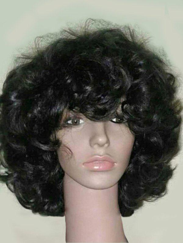 Medium Inclined Bang Fluffy Curly Heat Resistant Synthetic Wig - BLACK