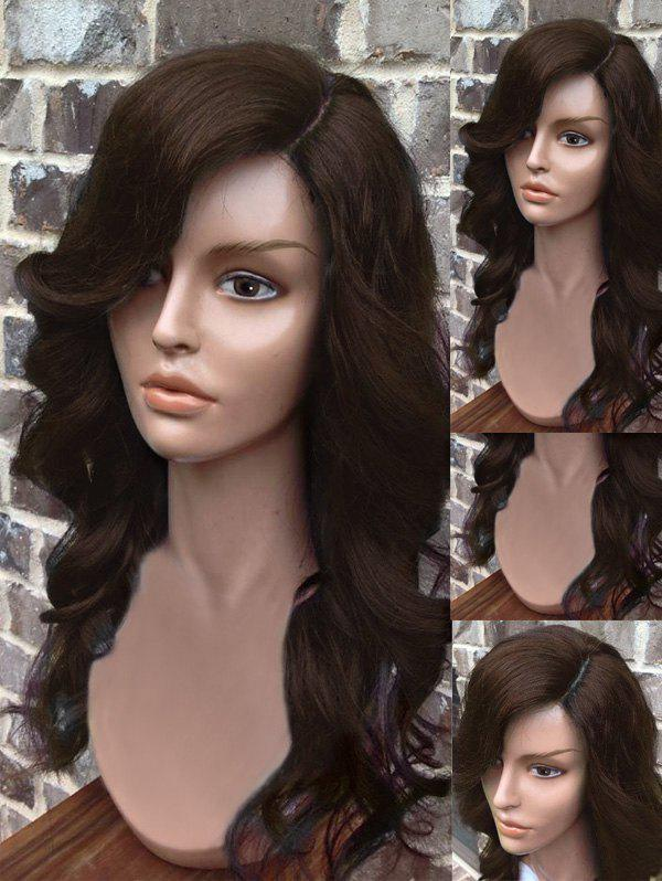 Long Side Parting Wavy Heat Resistant Synthetic Wig - DEEP BROWN