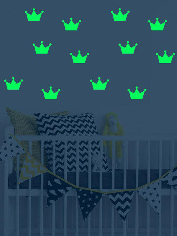 Crown Pattern Removable Luminous Wall Art Stickers - GREEN 35*23CM