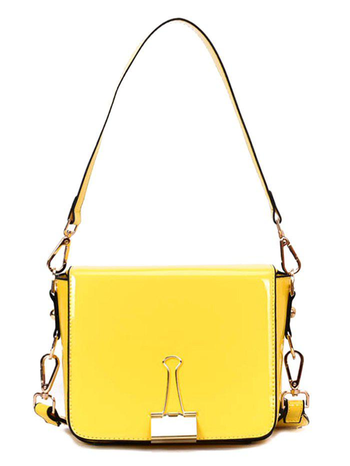 Big Capacity Magnetic Buckle Shoulder Bag with Strap - YELLOW