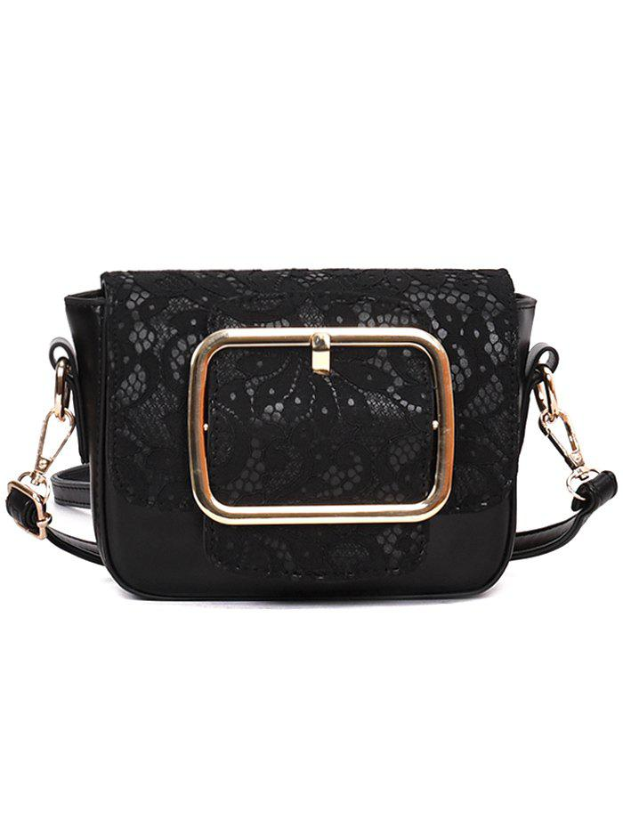 Lace Decoration Buckle Closure PU Crossbody Bag - BLACK