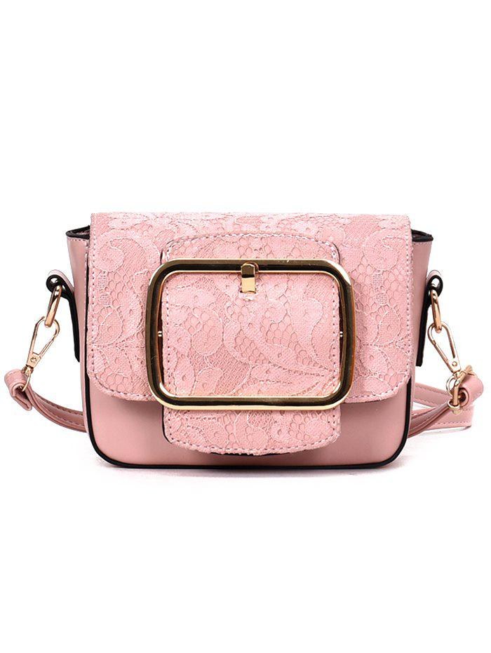 Lace Decoration Buckle Closure PU Crossbody Bag - PINK