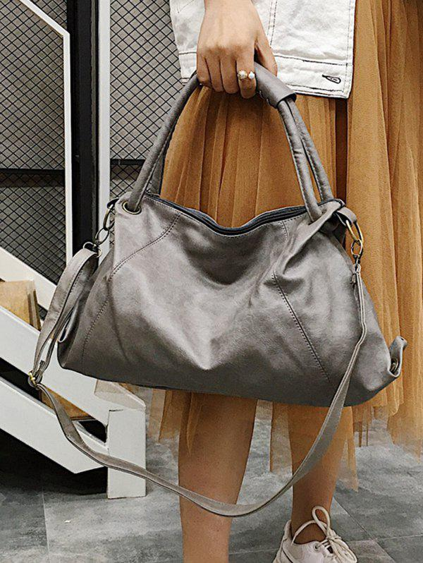 Top Handle Minimalist Faux Leather Tote Bag - GRAY