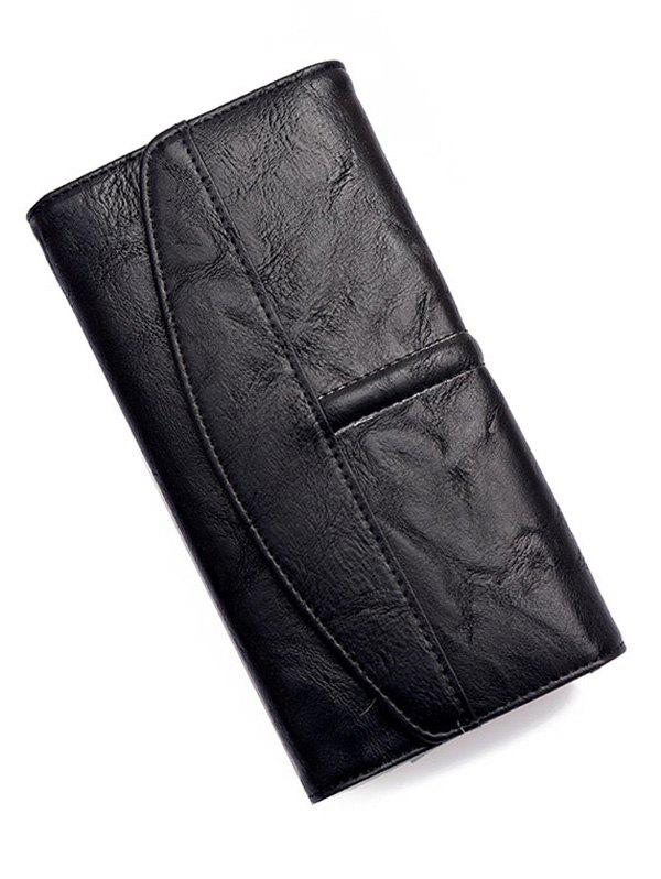 Flapped Stitches Tri Fold Wallet - BLACK