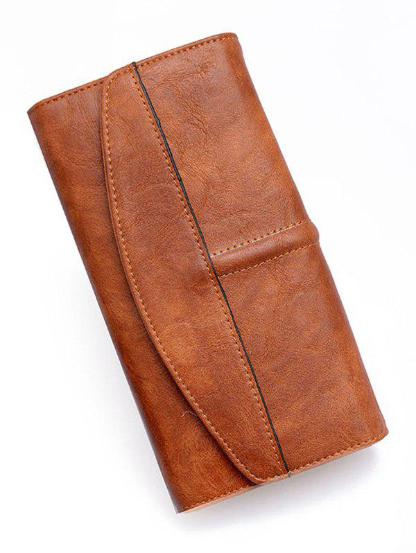 Flapped Stitches Tri Fold Wallet - BROWN