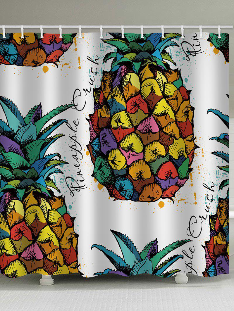 Chromatic Pineapple Letter Printed Bath Shower Curtain - multicolor W65 INCH * L71 INCH