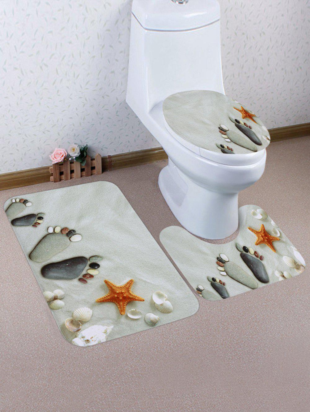 Beach Stone Footprints Starfish Print Bathroom Non Slip Mat Set 3Pcs - multicolor