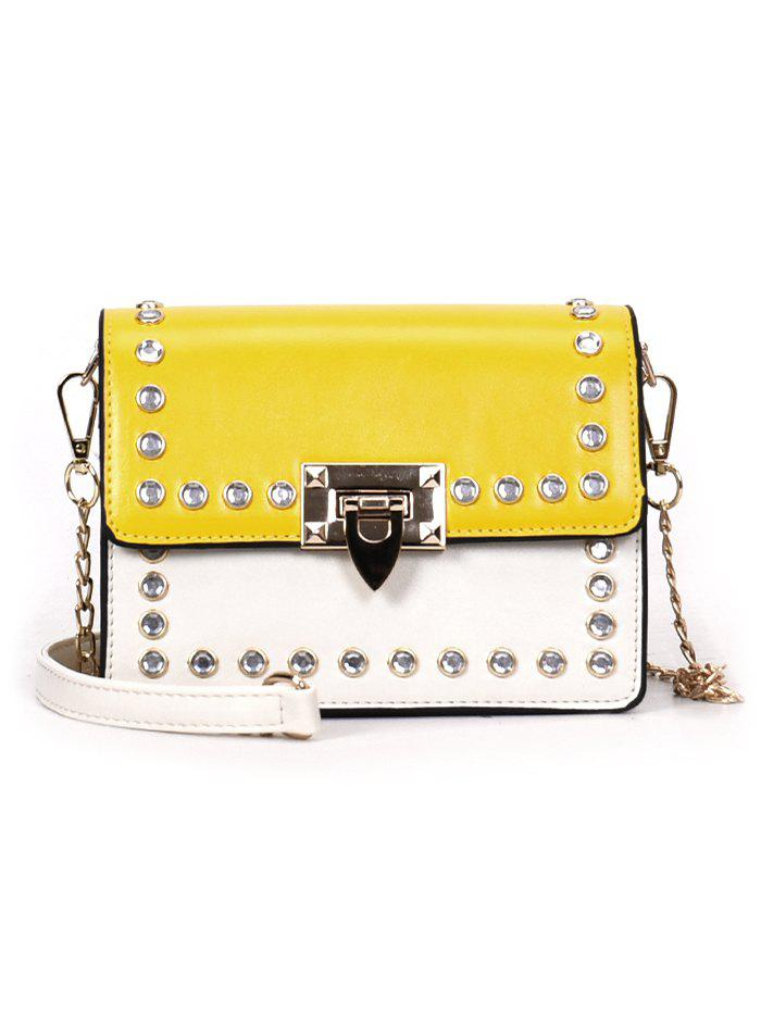Faux Diamond Inlaid Vintage Style Chain Crossbody Bag - YELLOW