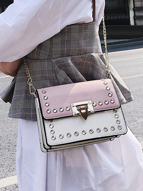 Faux Diamond Inlaid Vintage Style Chain Crossbody Bag - PINK