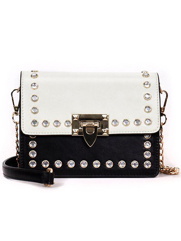 Faux Diamond Inlaid Vintage Style Chain Crossbody Bag - WHITE