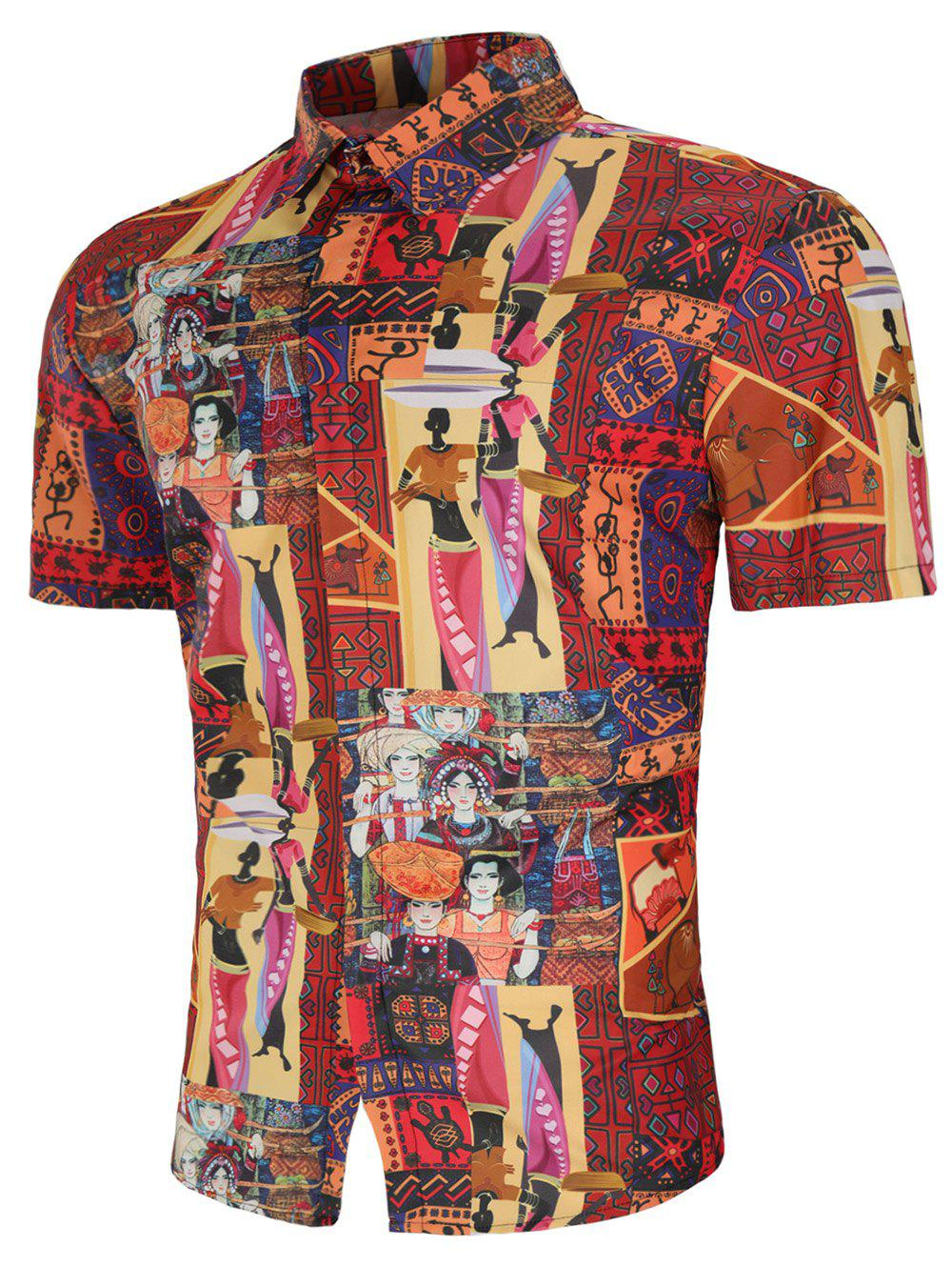 Turn Down Collar Tribal African Women Print Shirt - multicolor L