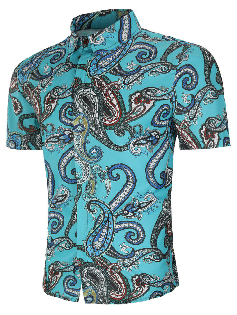 Button Up Allover Paisley Print Shirt - multicolor M