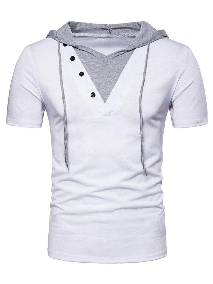 Short Sleeve Fake Two-piece Hoodie T-shirt - WHITE 2XL