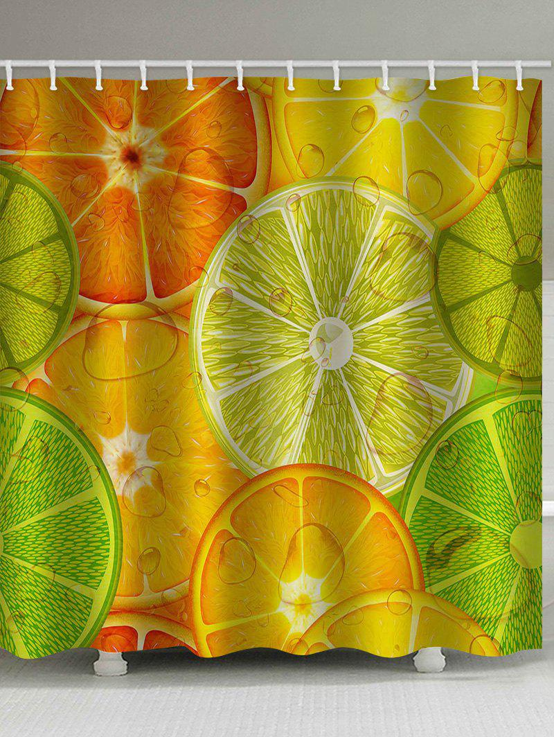 Colorful Lemon Slices Printed Bathroom Shower Curtain - multicolor W65 INCH * L71 INCH