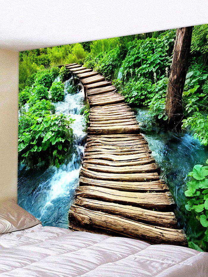 Log Bridge Stream Patter Wall Hanging Tapestry - multicolor A W71 INCH * L71 INCH